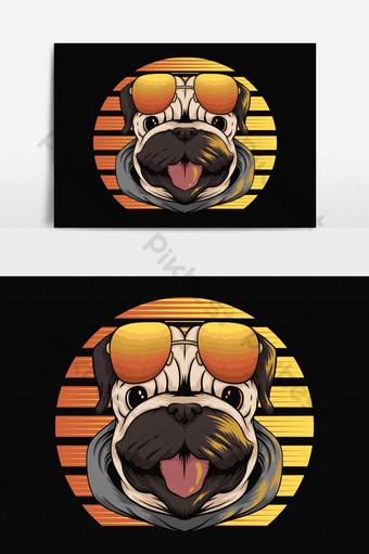 elemento gráfico de vector de puesta de sol retro perro pug Elementos graficos Modelo EPS