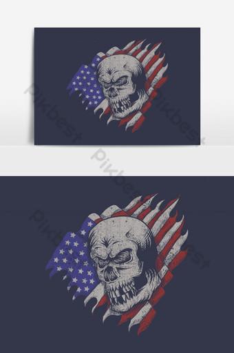 elemento gráfico del vector de la bandera de los eeuu del cráneo Elementos graficos Modelo EPS