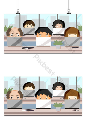 Group of cute avatar cartoon working with computer laptops illustration background Backgrounds Template PSD