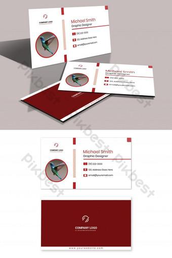 tarjeta de visita de foto de avatar rojo Modelo PSD
