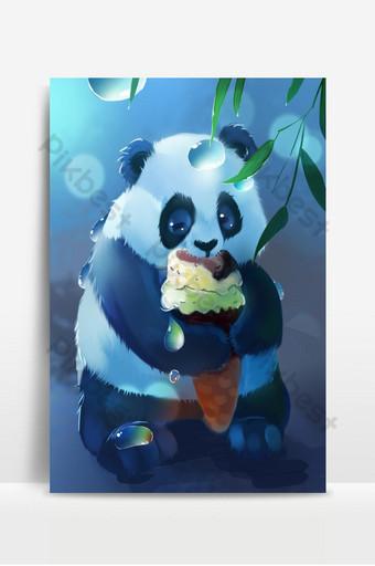 لطيف الباندا يأكل الآيس كريم مع إسقاط الماء على أوراق الخيزران الخلفية خلفيات قالب PSD