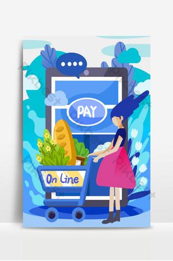 niña comprando alimentos frescos vegetales mediante el pago en línea en el fondo del teléfono móvil Fondos Modelo PSD