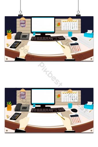 Diseño de lugar de trabajo en la oficina con fondo de equipo moderno. Fondos Modelo PSD