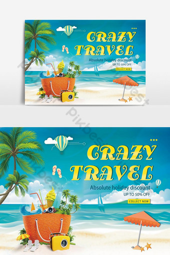 Holiday Crazy Seaside Travel Banner Backgrounds Template PSD