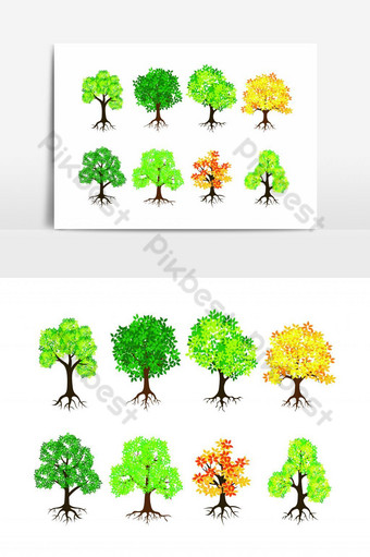 elemento gráfico de vector de paquete de árbol dibujado a mano Elementos graficos Modelo EPS