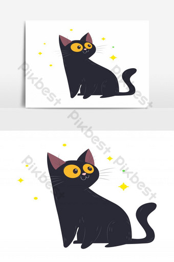 lindo gato negro con elemento gráfico de vector de estrella parpadeante Elementos graficos Modelo EPS