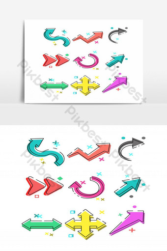 elemento gráfico de vector de paquete de flecha colorida Elementos graficos Modelo EPS