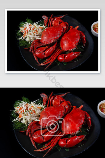 Crabs steamed on black plate served spicy sauce photo Photo Template JPG