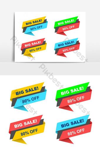 oferta colorida promoción publicitaria promoción banner paquete vector elemento gráfico Elementos graficos Modelo PSD