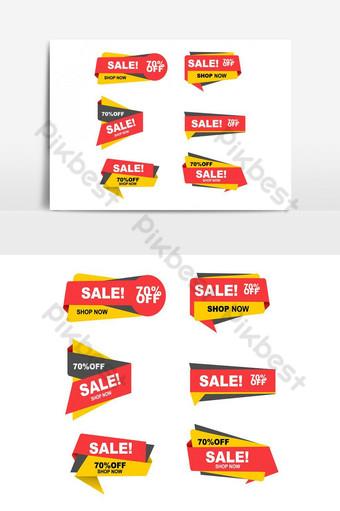 elemento gráfico de vector de paquete de banner de promoción de publicidad de compras colorido Elementos graficos Modelo PSD