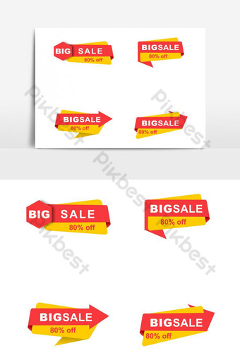 Assorted Shopping Advertising Banner Bundle Vector Graphic Element PNG Images Template PSD
