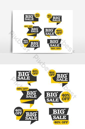 elemento gráfico de vector de paquete de cinta de compras y publicidad variada Elementos graficos Modelo PSD