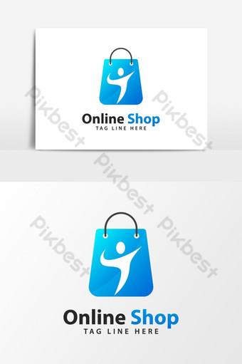 icono azul del logotipo de la tienda en línea Elementos graficos Modelo AI