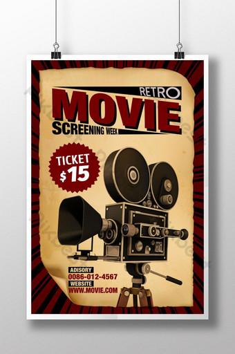 poster minggu pemutaran film tua gaya retro Templat PSD