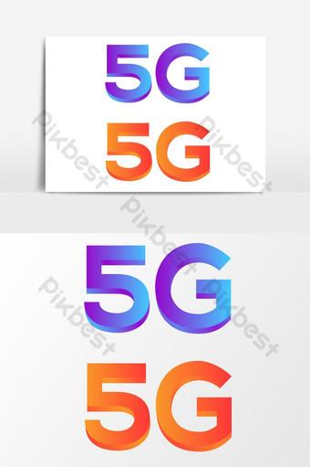 Elemento gráfico do ícone do logotipo 5g 3D Elementos gráficos Modelo AI