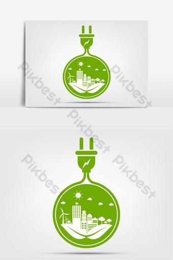 ideas energéticas salvar el mundo concepto enchufe de energía elemento ecología verde Elementos graficos Modelo EPS