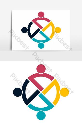 grupo de personas logo elemento de icono de trabajo en equipo Elementos graficos Modelo EPS