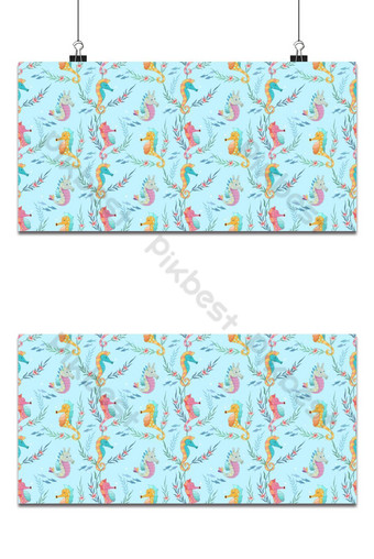 Cute seamless pattern with sea horses background Backgrounds Template AI