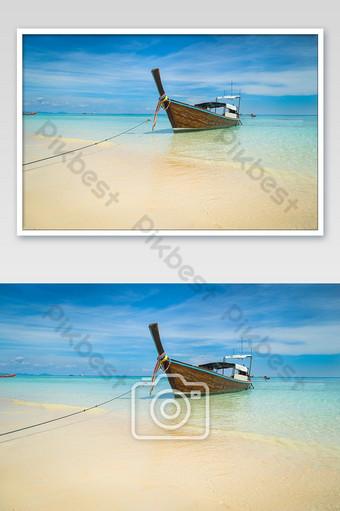 Andaman Sea Long Boat And Tropical Beach Photo Template JPG