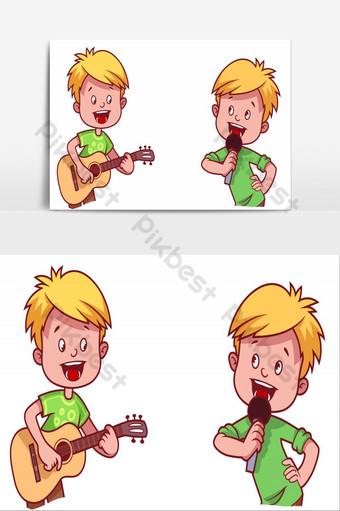 elemento gráfico de vector de ilustrador de música de chico Elementos graficos Modelo AI