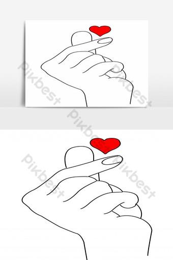 dibujo a mano humana con elemento gráfico estilo mini corazón Elementos graficos Modelo EPS