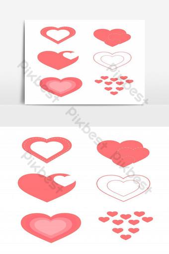 Conjunto de corazones de dibujos animados aislado sobre fondo blanco. Elementos graficos Modelo PSD