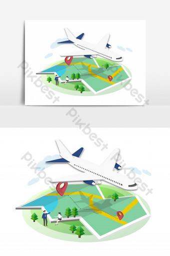 طائرة تحلق في الموقع وخريطة مع عنصر الغابة صور PNG قالب PSD