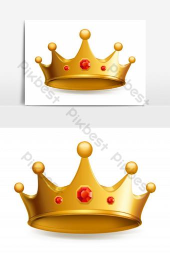 corona de oro de lujo con elemento de joyería roja Elementos graficos Modelo EPS