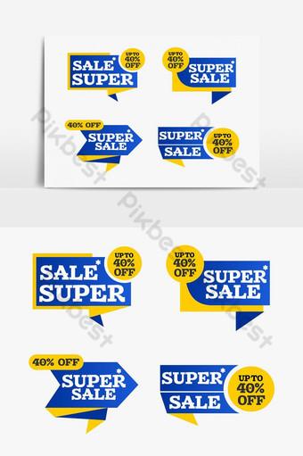 super venta creativo compras cinta etiqueta arte elemento gráfico Elementos graficos Modelo PSD