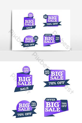 cintas de compras creativas coloridas limpias para elementos gráficos de promoción Elementos graficos Modelo PSD