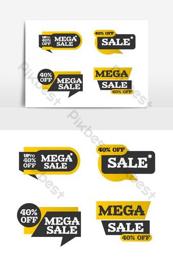 elemento gráfico de arte de cintas de mega venta moderna creativa Elementos graficos Modelo PSD