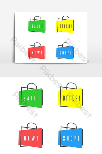 Shopping colorful vector tag png advertising banners Graphic Elements PNG Images Template PSD