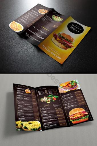 Modello struttura a tre ante per menu ristorante Sagoma PSD
