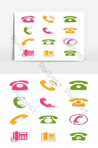 Ensemble d'éléments de symboles d'icône de téléphones Éléments graphiques Modèle EPS
