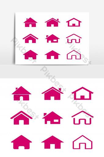 conjunto de casas icono signo símbolos elementos gráficos Elementos graficos Modelo EPS