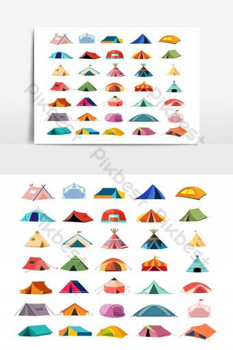 conjunto de elementos gráficos de icono de tienda de campaña Elementos graficos Modelo EPS
