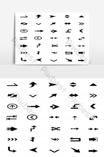 conjunto de punteros flechas icono aislado sobre fondo blanco elemento gráfico Elementos graficos Modelo EPS