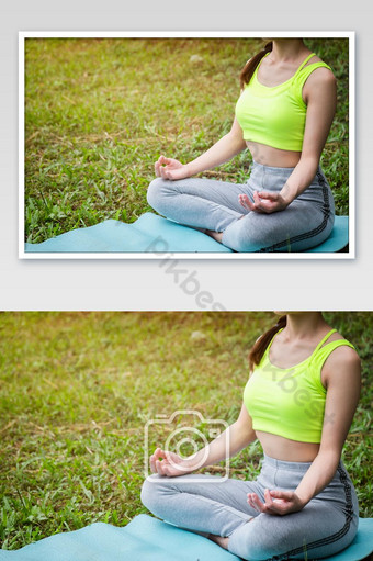 Young fitness woman practicing yoga on the field, healthy lifestyle photo Photo Template JPG