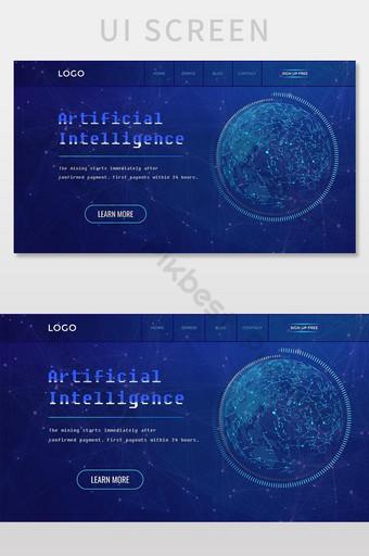 World Face Advanced Technology Website Landing Page UI Screen UI Template PSD