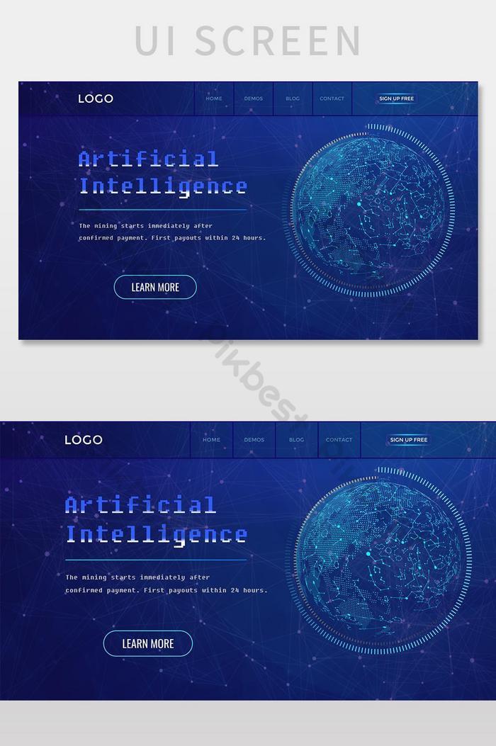 Экран пользовательского интерфейса целевой страницы веб-сайта world face advanced technology