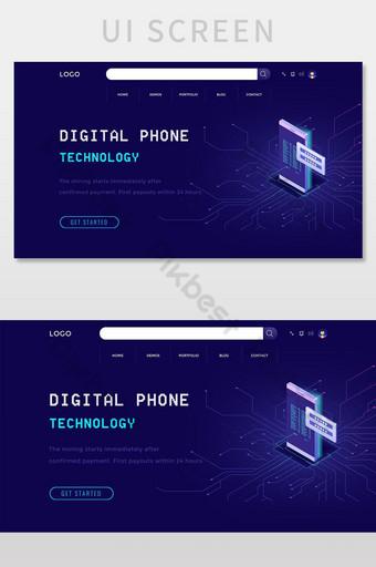 Digital Robot Face Technology Website Landing Page UI Screen UI Template PSD