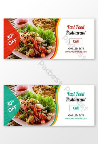 gambar sampul facebook makanan dan spanduk sosial Templat AI