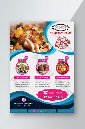 nuevo folleto de comida rápida hamburguesa pizza comida para llevar Modelo PSD