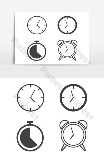 elemento gráfico de vector de paquete de icono de relojes de línea Elementos graficos Modelo AI