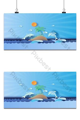 pagtingin sa isla seascape na may paglukso buhay ng dolphin sa sea sky magandang background Background Template EPS