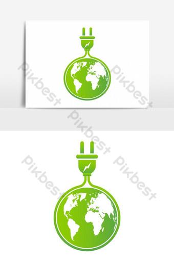 ideas de energía salvar el mundo concepto enchufe de energía verde ecología elemento gráfico vectorial Elementos graficos Modelo EPS
