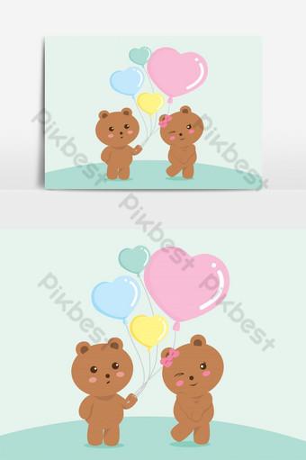osos globo amor verde san valentín vector elemento gráfico Elementos graficos Modelo EPS