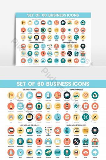 iconos de negocios establecidos para el elemento de icono de marketing empresarial Elementos graficos Modelo AI