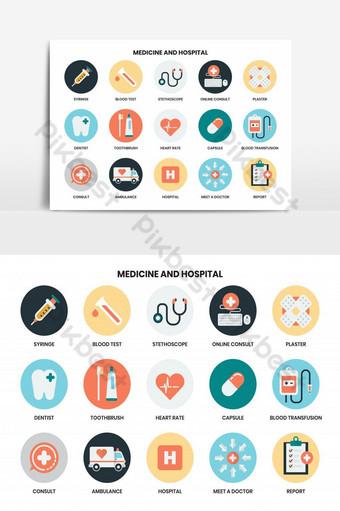 conjunto de iconos de hospital para elemento gráfico empresarial Elementos graficos Modelo AI
