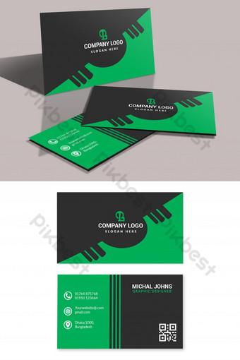 Conception unique de cartes de visite vertes élégantes Modèle PSD
